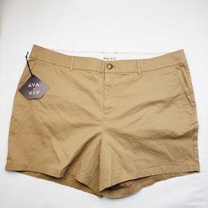 "NWT 5"" Chino Shorts Ava & Viv Khaki"